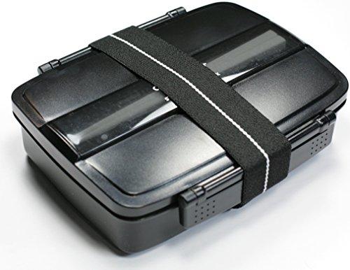 Japanese Modern/Traditional Compartmental Bento Box 870ml, Chopsticks, Elastic Band (BLACK)