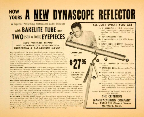 1959 Ad Criterion Manufacturing 331 Church St Hartford Ct Dynascope Refector - Original Print Ad