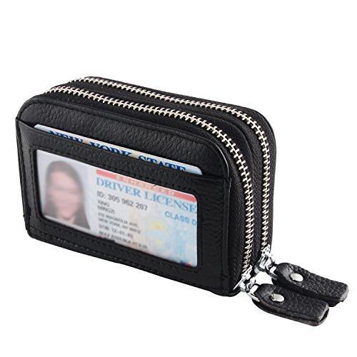 IDEAWIN Geniune Leather RFID Blocking Double Zipper Accordion style Card Wallet with ID Window Gift Box (Mens Wallets Id Protection compare prices)