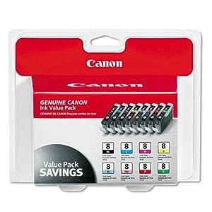 Canon CLI-8, 0620B015 (CLI8) Multipack OEM Genuine Inkjet/Ink Cartridge (One each: CLI-8BK,CLI-8C, CLI-8M, CLI-8Y, CLI-8R, CLI-8G, CLI-8PC, CLI-8PM) - Retail