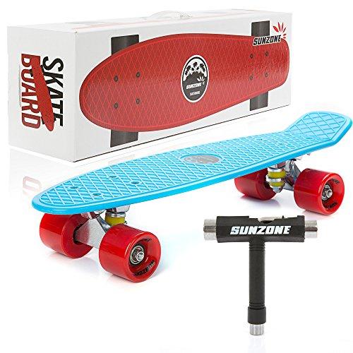Sunzone Mini Complete Skateboard Plastic Cruiser Standard Skate Board Trucks 22 Inches (Blue Board+Red Wheel) (Deathwish Boards compare prices)