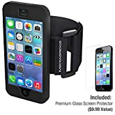Armband for iPhone 5 / iPhone 5S ( Black ) - Model AB1 by Mediabridge - Premium Glass Screen Protector Included ($9.99 Value)