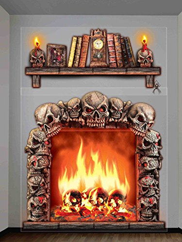 schauriger horror kamin feuerstelle totensch del skulls