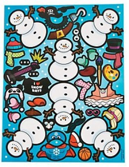12 Snowman Costume Sticker Sheets