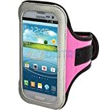 """myLife (TM) Light Pink + Black + White Velcro Strap (Light Weight Flexible Neoprene + Secure Running Armband) for Samsung Galaxy S3 and S4 Touch Phone (Designed for All Galaxy S3 and S4 Models From All Carriers + Universal One Size Fits All + Velcro Secured + Adjustable Length + PU Leather Trim + All Top Ports and Headphone Jack Accessible + Water Resistant + Min 10.2"""" Max: 17.3"""") (Will Not Fit Galaxy Mini)"""