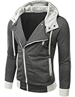 Doublju Mens Rider Hoodies Jacket with Unbalanced Zip up in 2 Colors