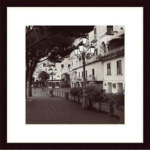 Strada, Amalfi Wood Framed Art Print Matte Color: White, Frame Color: Black