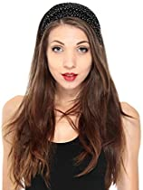 Simple Stretch Sparkling Rhinestone Headband - Black