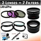 49mm Digital Pro Deluxe Lens + Filter Bundle, Includes 2x Telephoto Lens + 0.45x HD Wide Angle Lens W/Macro +...