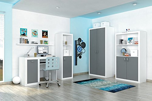KIDS CHILDREN BEDROOM FURNITURE DOMINIC SET 4 COLOURS TO CHOOSE (Grey)
