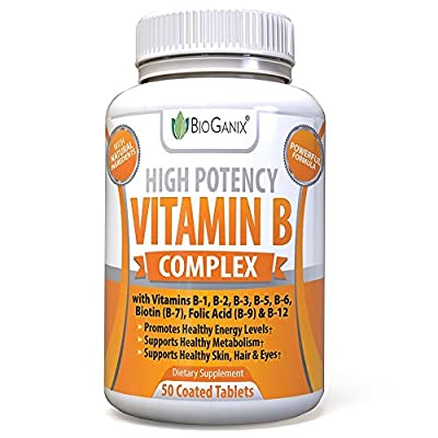 Vitamin B Complex 100 Supplement With Vitamin B12, B1, B2, B3, B4, B5, B6, B7 Biotin & B9 Folic Acid 400mcg - High Potency Capsules To Boost Energy, Weight Loss, Metabolism, Skin, Hair & Eyes