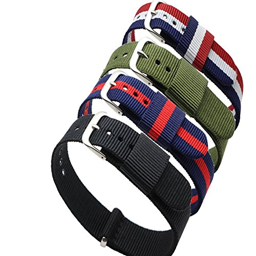 4pc-Ritche-20mm-Nylon-Striped-Blue-Redblue-Whiteredblack-Army-Green-Replacement-Watch-Strap-Band