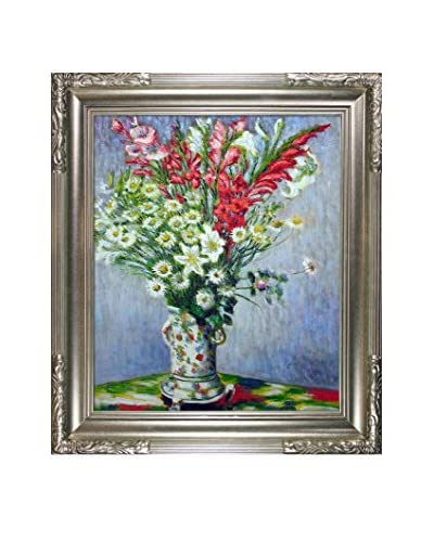 Claude Monet Bouquet Of Gladiolas, Lilies And Daises Framed Hand-Painted Oil Reproduction
