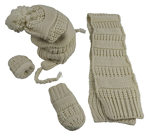 N'Ice Caps Little Girls and Infants Solid Cable Knit Hat/Scarf/Mitten Accessory Set (6-18 Months, Winter White Infant)