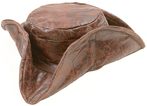 Brown Leatherette Tri-fold Caribbean Pirate Hat, Jack