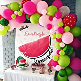 112 Pack Watermelon Party Balloon Garland Arch Kit-100pcs Latex Balloons, 10 Green Leaves, 16 Feets Arch Balloon Strip Tape, Balloon Tying Tool for Fruit Party Birthday Party Supplies (Color: Pink, Hot Pink, Red,green)