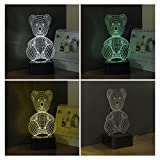 Hideeled 3d Illusion Table Lamp Light Valentines Day Gifts for Her or Him and Family (Teddy Bear)