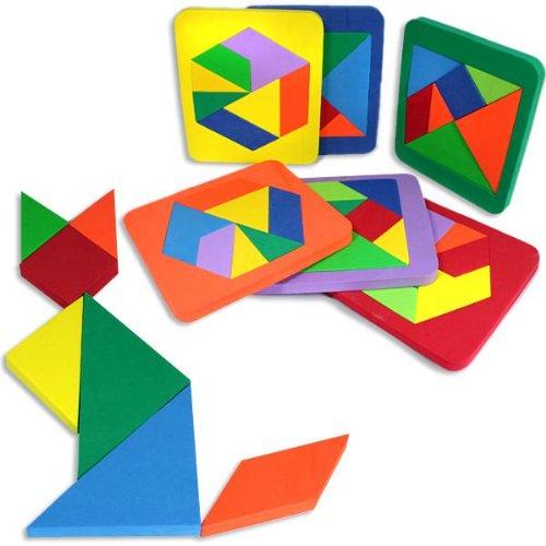 Tangram Puzzle, altes chinesisches Denkspiel, mit 7 Puzzle-Teilen, 18,4cm x 16cm