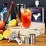 Home-Cocktail-Set-with-Cocktail-Book-by-bardrinkstuff-Cocktail-Making-Kit-in-Recyclable-Gift-Box-with-Boston-Cocktail-Shaker-Tin-Glass-Cocktail-Book-Hawthorne-Cocktail-Strainer-Muddler-Twisted-Mixing-