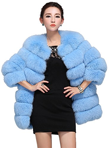 [Top Fur Women's Genunine Fox Fur Whole Skins Eye-catching Coat- Light Blue, US 4] (Faux Chain Hooded Costumes)