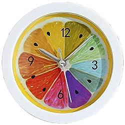 Grazing 5 Colorful Lemon Pattern Bright Color Non Ticking Sweep Silent Round Desk Travel Alarm Clock (Colorful Lemon)