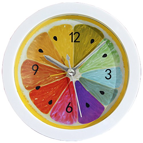 Grazing 5 colorful lemon pattern bright color non ticking sweep silent round desk travel alarm - Colorful cuckoo clock ...