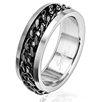 Black Plated Spinner Ring with Black Curb Chain Center - Size 10