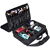 LOUISE MAELYS 3 Layers Makeup Artist Train Case Cosmetic Bag Shoulder Bag For Travel-Removable Dividers, Large...
