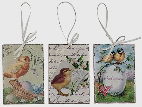 'Vintage' Wood Easter Postcard Hanging Ornament