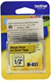 Brother Tape Cartridge 0.5IN Wide, Non-laminated Black on Gold (M831)