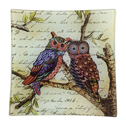 Pair of Owls With Script Square Glass Decor Tray