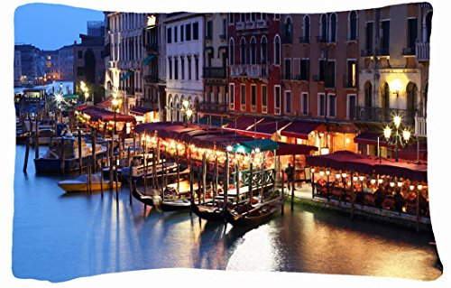 Microfiber Peach Queen Size Decorative Pillowcases -City Venice Italy Building Images House Evening Cafe Lights People Canal Gondola Boats front-975904