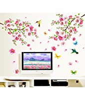StickersKart Wall Stickers Flowers TV Background Branch LED LCD Living Area Decoration PVC Vinyl (Wall Covering Area: 155cm x 115cm)