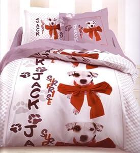 parure de lit housse de couette animal chien dog dalmatien taie d 39 oreiller 140x200 cm amazon. Black Bedroom Furniture Sets. Home Design Ideas