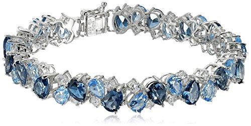 Sterling Silver Tonal Blue and White Topaz Bracelet, 7.25