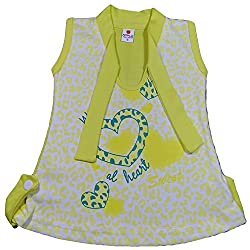 Amykids Baby Girls' Cap Sleeve Frock (4012-y, Yellow, 6 - 9 Months)