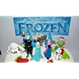 Disney Frozen Figure Set Mini Cake Toppers Mini Cup Cake Party Favor Decorations with Anna, Elsa the Snow Queen, Olaf, Reindeer, Snow Monster, Trolls, Unique Movie Decorations and Special Frozen Temporary Tattoos