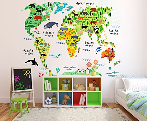 Animal world map wall stickers gizmos you want a unique online mall animal world map wall stickers previous next gumiabroncs Image collections
