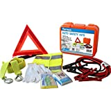 Cartman Roadside Emergency Kit Set, Booster Cables 6Ga + Tow Belt 4500Lbs, in Carry Box