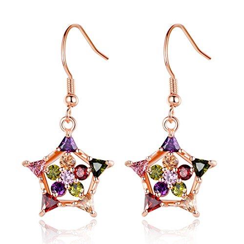 Bamoer Women Gold Plated Pendant Earrings Cubic Zircon Cz Jewelry Gift (Yljie037)