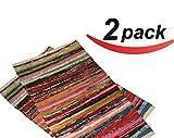 "2 pack - 20""x31.5"" Cotton Rag rug multi color, handmade heavy woven ,Premium quality branded Chindi rug by La Vivien"
