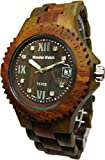 Tense Wood Mens Watch Two-Tone Date Time Hypoallergenic G4100GS Roman Numeral RNDF Dark Face