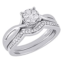 buy 10K White Gold Round Cut Diamond Engagement Ring + Wedding Band Intertwined Circle Bridal Set 0.34 Cttw