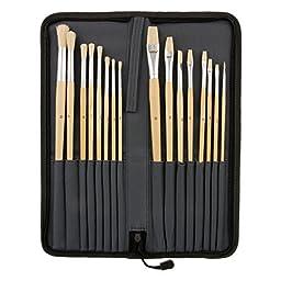 US Art Supply 16-Piece Long Handle Bristle Hair Artist Paint Brush Set with Carry Case