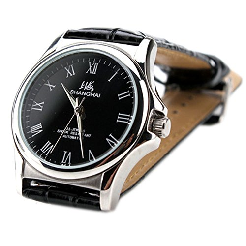 Luxury Brand Shanghai Casual Roman Numeral Black Dial Window Men Automatic Mechanical Wristwatches