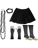 A-Express® Neon Tutu Skirt Legwarmer Beads Gloves Hen Fancy Dress Party Costumes Set