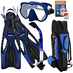 Buy PROMATE Snorkeling Scuba Dive Frameless Mask Fins Dry Snorkel Gear bag Set  SCS0043 by Promate