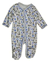 Calvin Klein Baby-Boys Newborn and Printed Coverall, Gray/Blue, 3-6 Months