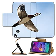 buy Luxlady Premium Samsung Galaxy Note 4 Flip Pu Leather Wallet Case Male Wood Duck In Flight With Cloud And Blue Sky Background Soft Focus Image Id 25448091