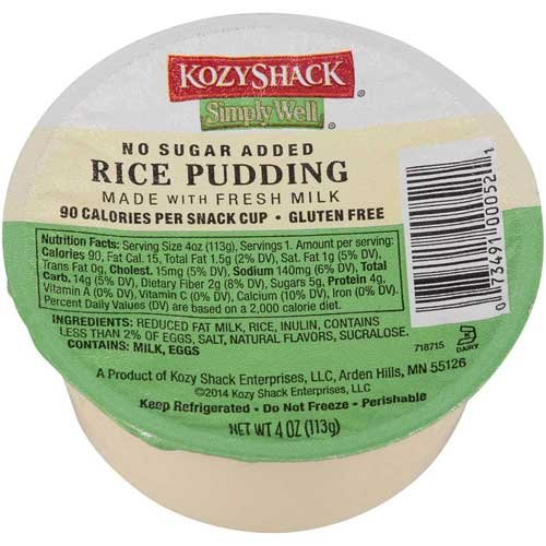 Kozy Shack Rice Pudding No Sugar Added, 4 Ounce -- 48 per case. (Rice Pudding compare prices)